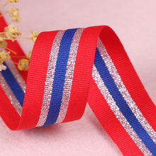 Hot 25mm Gold Silver Red White Stripes Nylon Webbings Ribbons DIY Game MEDALS Belt Sewing Lace Trim Waist Band Garment Accessory 4meters 4cm eco friendly sequins lace trims 3d gold silver lace ribbons for stage dance dress belt sewing accessories