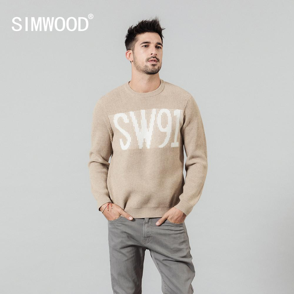 SIMWOOD 2020 Spring New Jacquard Letter Sweater Men O-neck Kintwear High Quality Plus Size Brand Clothing Pullovers SI980761
