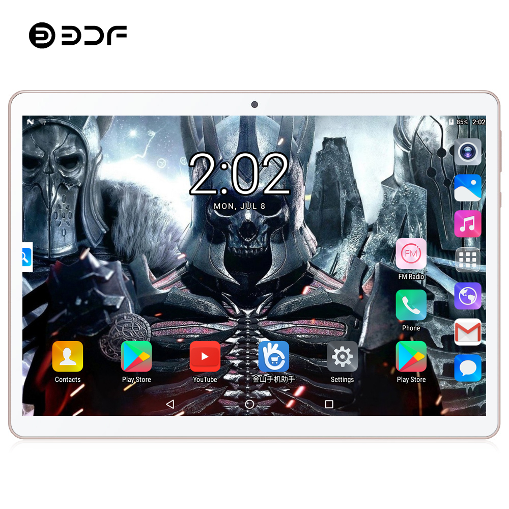 BDF Tablet 10 Inch Android 7.0 Octa Core 4GB+64GB Tablet Pc 3G Tablet Dual SIM Card Tab Android Laptop Mobile Phone Tablet 10.1