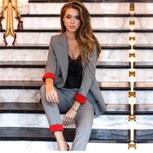 suit Chic costume Autumn Double Breasted Office Ladies Plaid Blazer sui