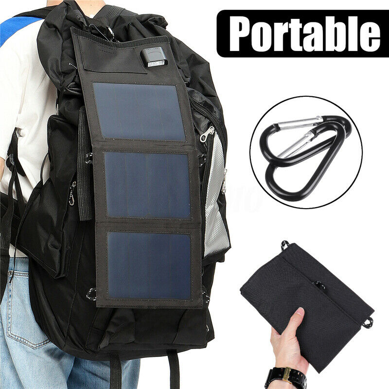 20W 5V Solar Panels Waterproof Dual USB Portable Solar Panel Charger Solar Cells Battery Charger for Smartphones Tablets Outdoor image
