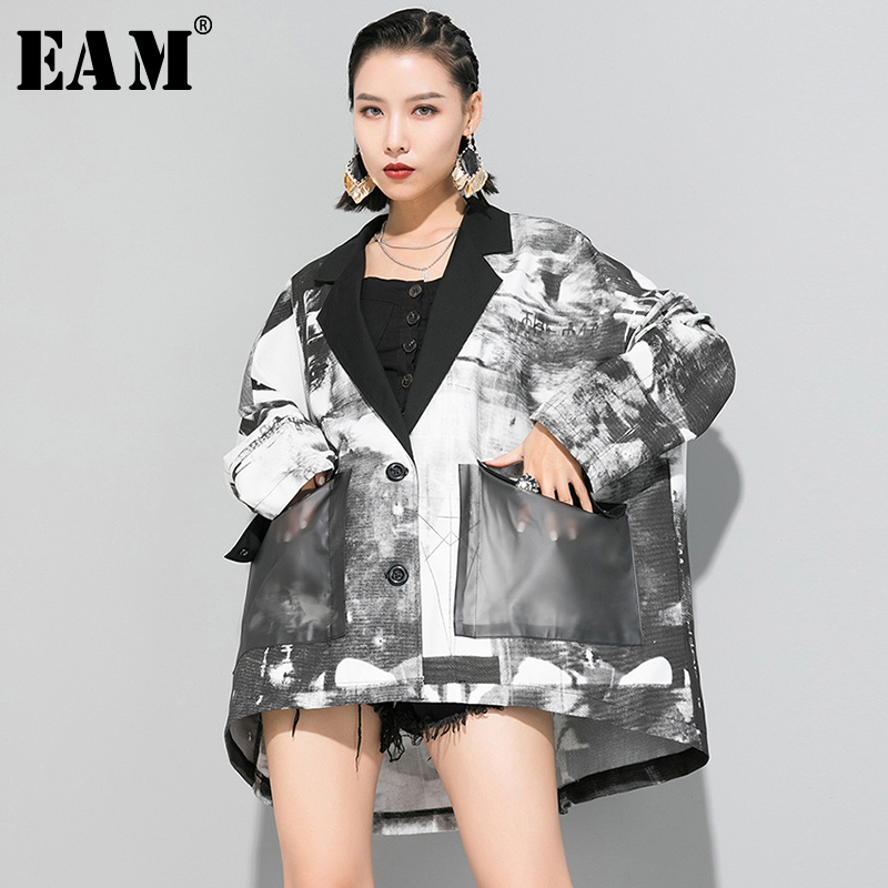 [EAM] Loose Fit White Pocket Pattern Printed Big Size Jacket New Lapel Long Sleeve Women Coat Fashion Tide Spring 2020 1R654