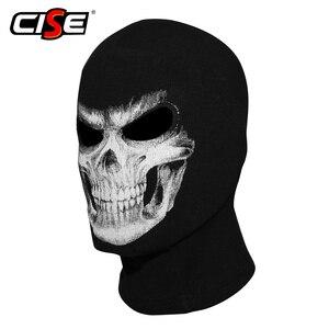 Image 1 - 3D Skull Grim Balaclava Motorcycle Volgelaatsmasker Cover Helm Liner Motorbike Fietsen Snowboard Halloween Ghost Dood Biker Mannen