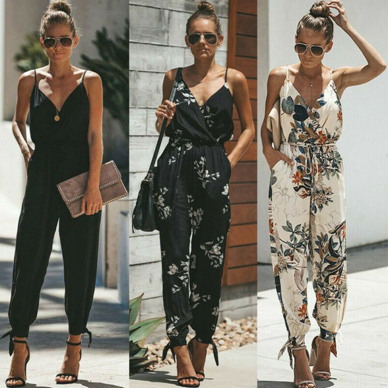 Hirigin Bohemian Women Sleeveless Loose Baggy Trousers Overalls Pants Solid Romper Sleeveless Flower Print Jumpsuit