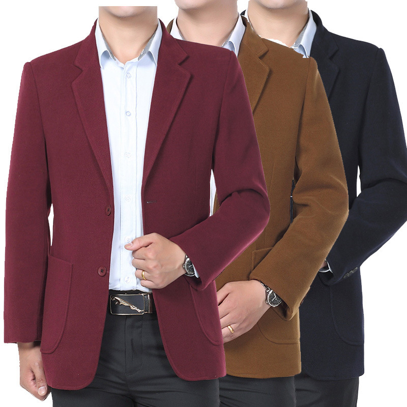 2019 Winter New MEN'S WEAR Middle-aged Large Size Solid Color Fold-down Collar Casual Men Woolen Suit Cashmere Suit Coat