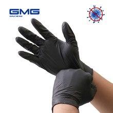 Luvas de nitrilo preto 100 pces grau alimentício antialérgico à prova dwaterproof água luvas de segurança de trabalho descartáveis luvas de nitrilo mecânico sintético