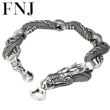 FNJ 925 Silver Bracelet Dragon Statement 23cm Big Chain Width 15mm Original Pure S925 Silver Bracelets for Men Jewelry Fine(China)