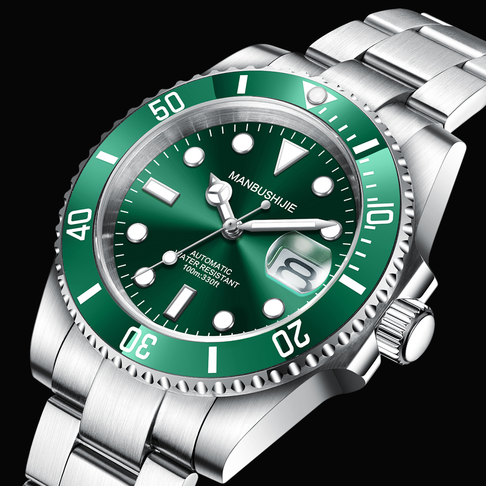MANBUSHIJIE Luxury Men Watches NH35 Automatic Green Stainless Steel Waterproof Business Sport Mechanical Wristwatch