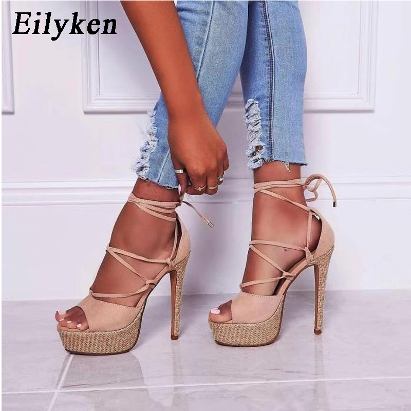 EilyKen 2020 New Sandals Women <font><b>Heel</b></font> Sandals Sexy Ankle Strap Super Platform <font><b>High</b></font> <font><b>Heels</b></font> <font><b>17</b></font> <font><b>CM</b></font> Lady Pumps Shoes Size 34-40 image