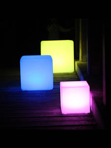 Square-Cube Chair Rechargeable Changing 16color Factory LED 20--20--20cm Pe-Material