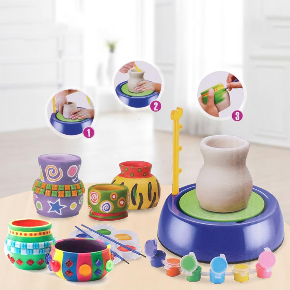 Electric Mini Ceramic Pottery Machine Wheel DIY Art Craft Educational Kids Toy New