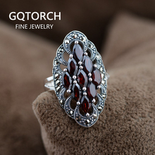 925 Sterling Silver Jewelry Nature Stone Ring Garnet Earrings Pendant Indian Vintage Style For Women Anillos De Plata