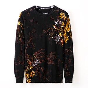 Осенне-зимний свитер, нижняя одежда, пуловер, тонкий крой, 3XL-M, повседневный вязаный свитер с цветочным принтом, Мужской Хлопковый удобный