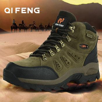 Gorąca sprzedaż klasyczne Pro-Mountain kostki buty trekingowe dla mężczyzn i kobiet para Outdoor Sports buty trekkingowe Walking obuwie treningowe tanie i dobre opinie QIFENG Unisex 1216 Początkujący Średnie (b m) Suede Syntetyczny Pasuje prawda na wymiar weź swój normalny rozmiar