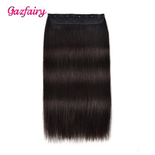 Gazfairy 20 70g Clip In One Piece Brazilian Hair 5 Clips Set Remy Natural Straight Human Extensions