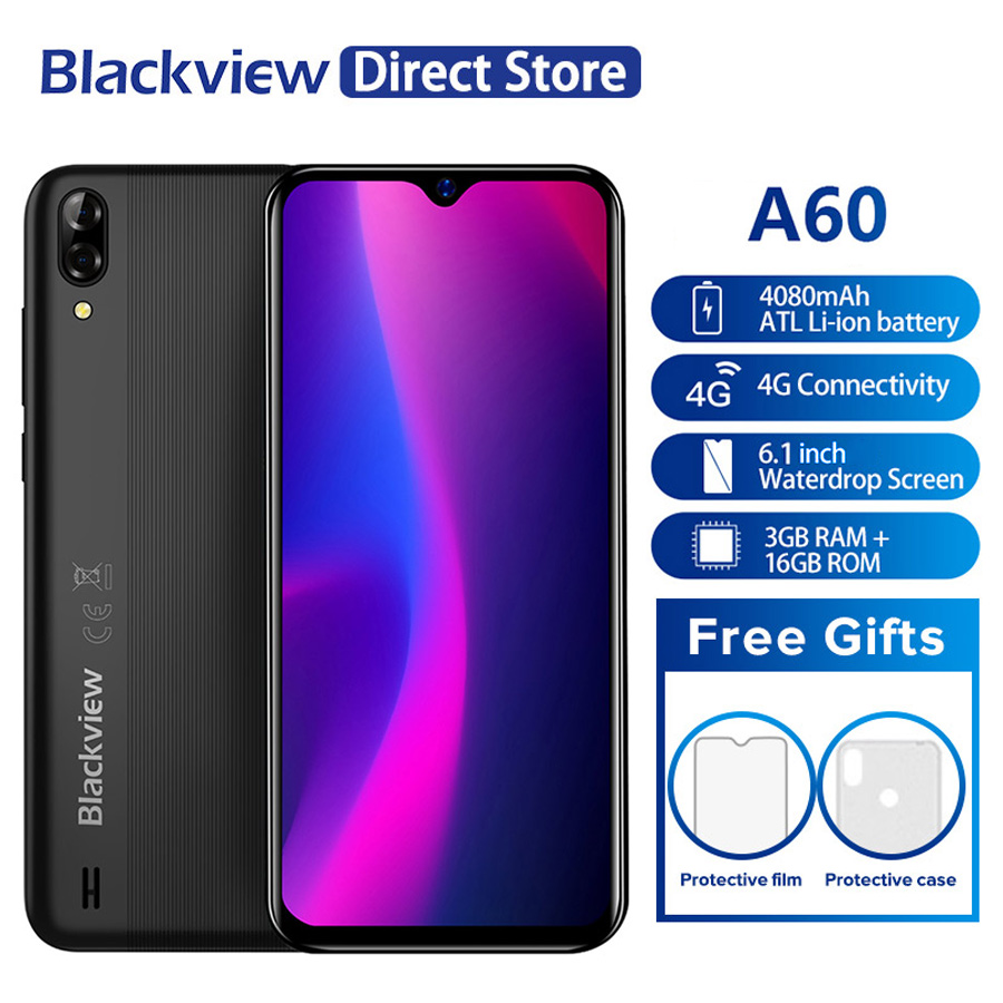 """Blackview A60 1GB RAM 16GB ROM 6.1"""" 19.2:9 Screen MT6580A/WA Quad Core 13.0MP Dual Rear Camera 3G Mobile Phone-in Cellphones from Cellphones & Telecommunications    1"""