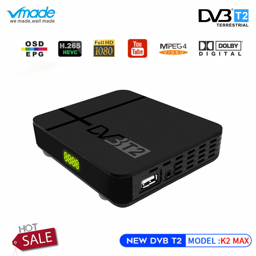 Vmade Fully HD 1080p Digital DVB-T2 K2 MAX Terrestrial TV Tuner H.265/HEVC Built-in RJ45 LAN Support IPTV DVB T2 Set Top Box