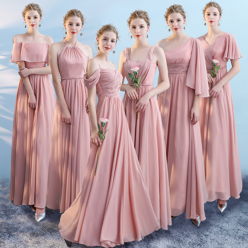 Bridesmaid Dresses Chiffon Long Pink A-Line Wedding Party Dress 2020 Sexy Halter Sling V-Neck Vestidos For Women Long Gowns R006