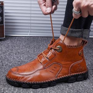 Image 5 - Mens Ankle Leather Boots 2019 Autumn Winter Men Shoes Quality Real Leather Men Vintage British Military Boots Plus Size 38 48