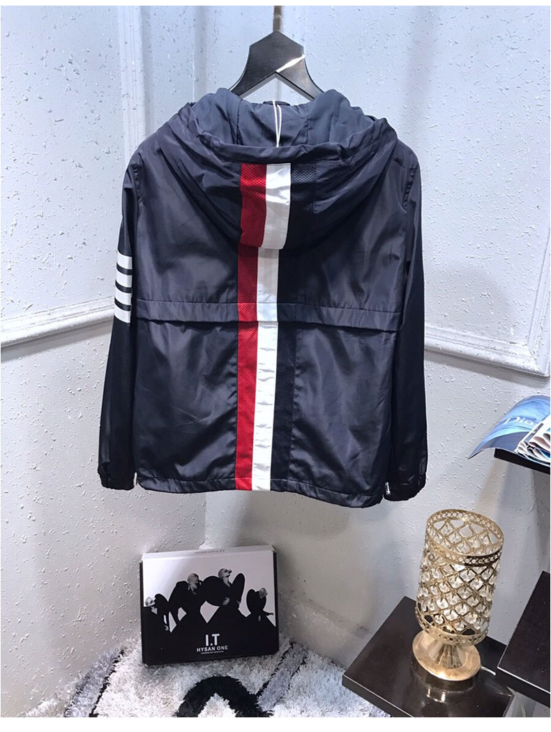 Новые мужские Роскошные джентльменские классические толстовки в красную и синюю полоску, толстовки с капюшоном, хлопковое пальто, уличная ... - 5