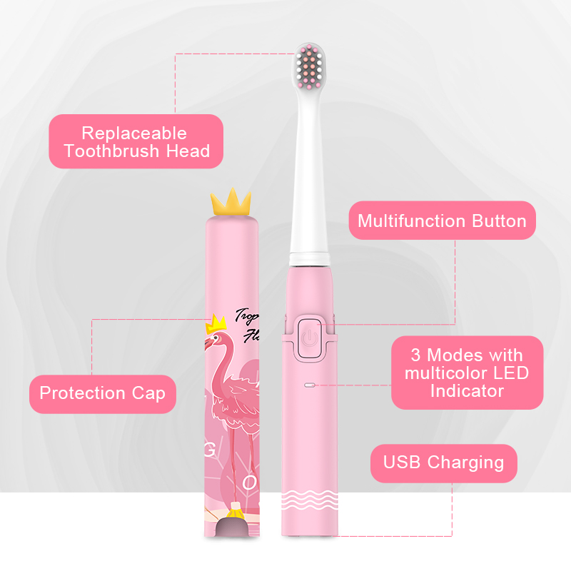 Image 4 - SEAGO USB Kids Electric Toothbrush Cute Soft Food grade materials Dupont Bristle  Rechargeable Ultrasonic Sonic Teeth BrushElectric Toothbrushes   -