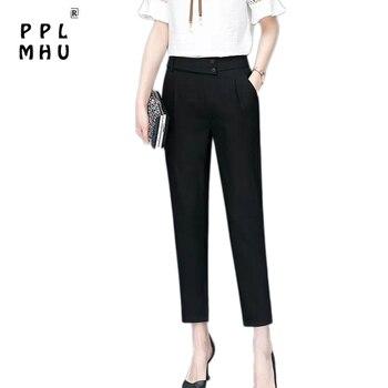 Pantalones Harem de cintura alta elásticos informales de alta calidad para mujer, pantalones a la altura del tobillo clásicos de primavera y verano, novedad para mujer