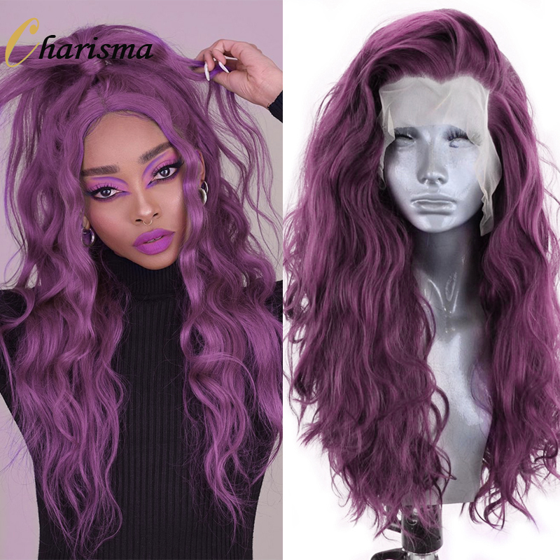 Charisma Long Water Wave Wig Purple Color Synthetic Lace Front Wig High Temperature Fiber Hair Cosplay Wigs for Women Grey Wigs