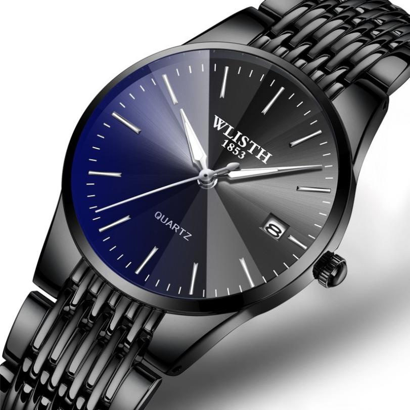 WLISTH Fashion Casual Men Watch 3bar Water Resistant Stainless Steel Band Quartz Wristwatches Complete Calendar Relogio Masculin