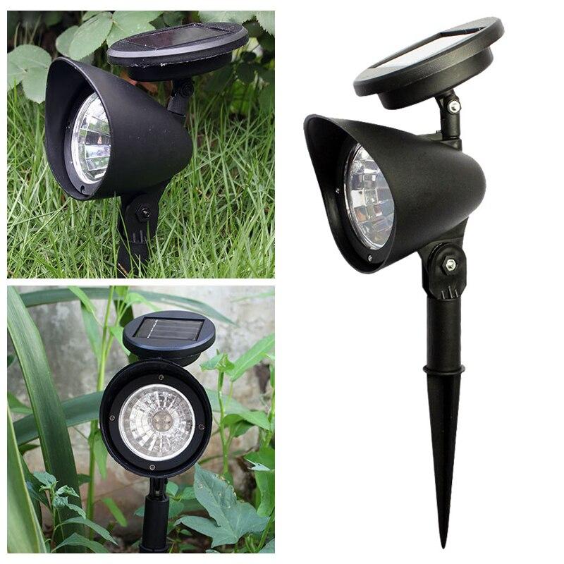2pcs 4LED Solar Lawn Spotlight Garden Light Outdoor Waterproof Solar Panel Power Flood Lights Garden Light Pathway Light