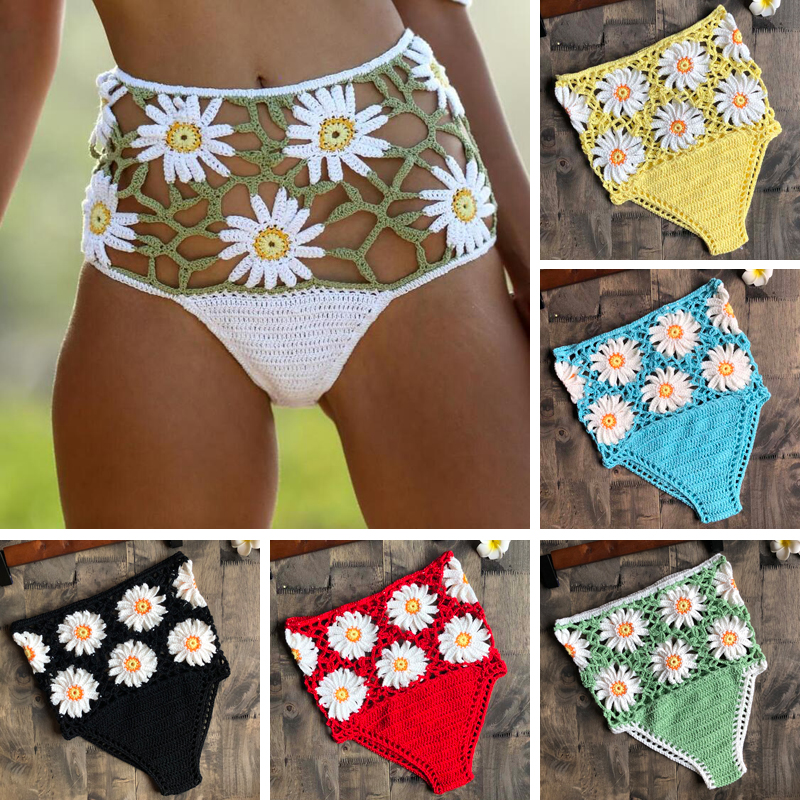 Crochet Flower High Waist Bikini Panties Bottoms Separate Women's Swimsuit Shorts 2019 Crochet Bathing Suit Underwear Cotton Wom