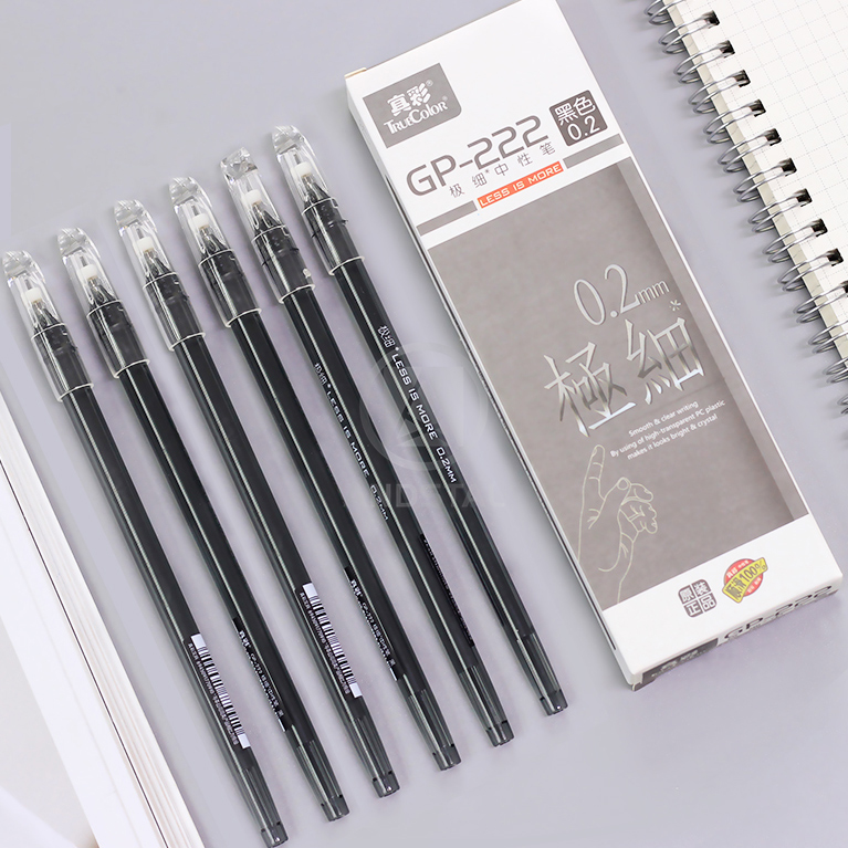 Andsta 12pcs/lot 0.2mm Ultra Fine Finance Gel Pen Black Ink Refill Gelpen For School Office Supplies Stationary Pens Stationery