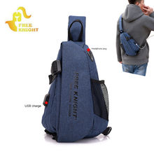 USB Charging Leather Slling Bag Chest Shoulder Bags Outdoor Sports Gym Daily Bag For Men Male Sports Gym Sling USB Bags XA496WA