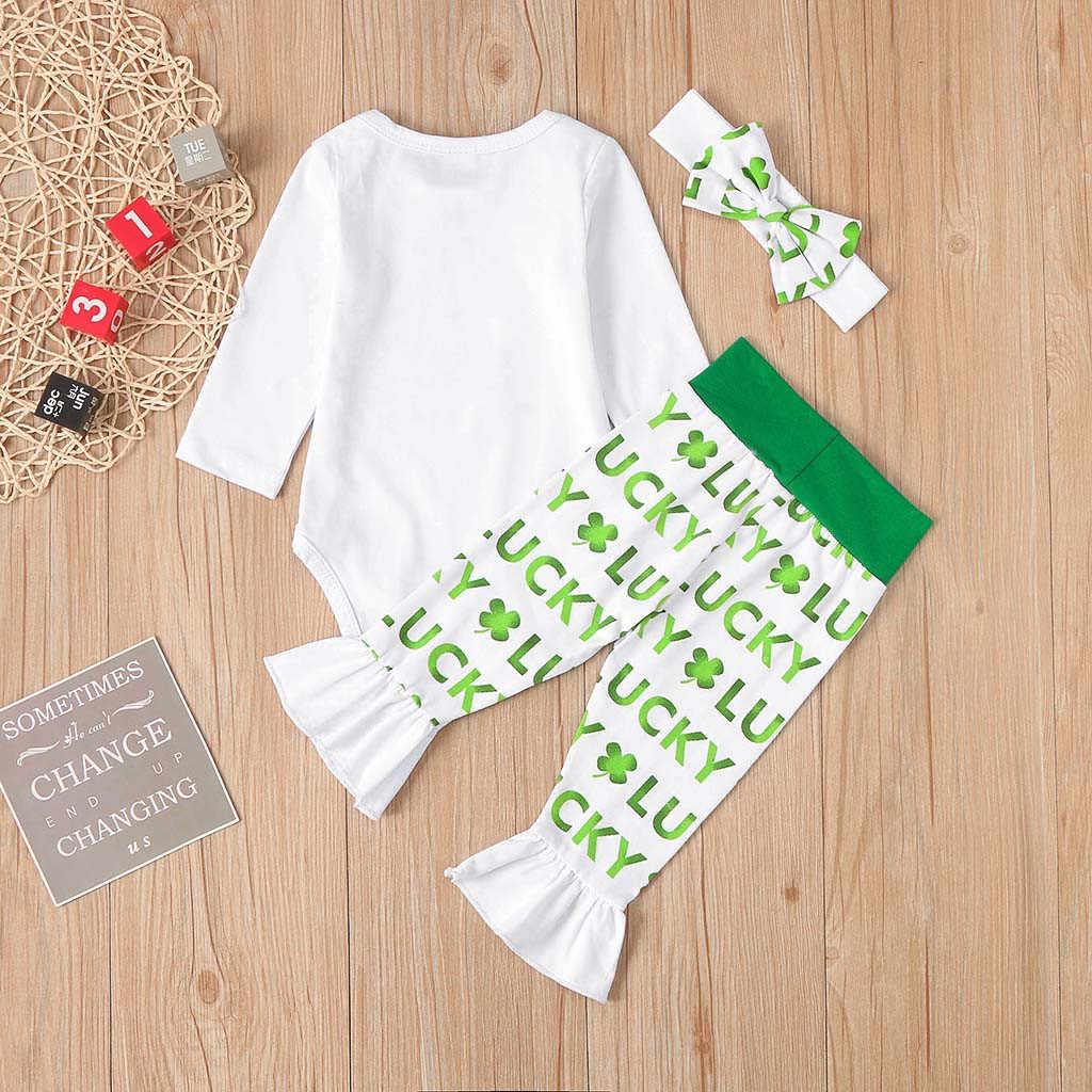 День Святого Патрика; комплект одежды для новорожденных; Зеленый Детский весенний комплект одежды; комбинезон; штаны; повязка на голову; Одежда для младенцев; mardi gras; наряд