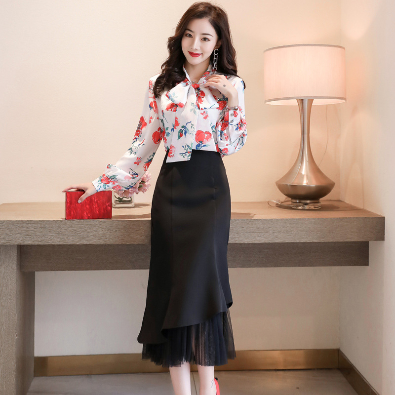 2020 Spring Clothing New Style Goddess-Style Elegant Floral Shirt Two-Piece Set High-End Acetic Acid Satin Fashion Dress Outfit
