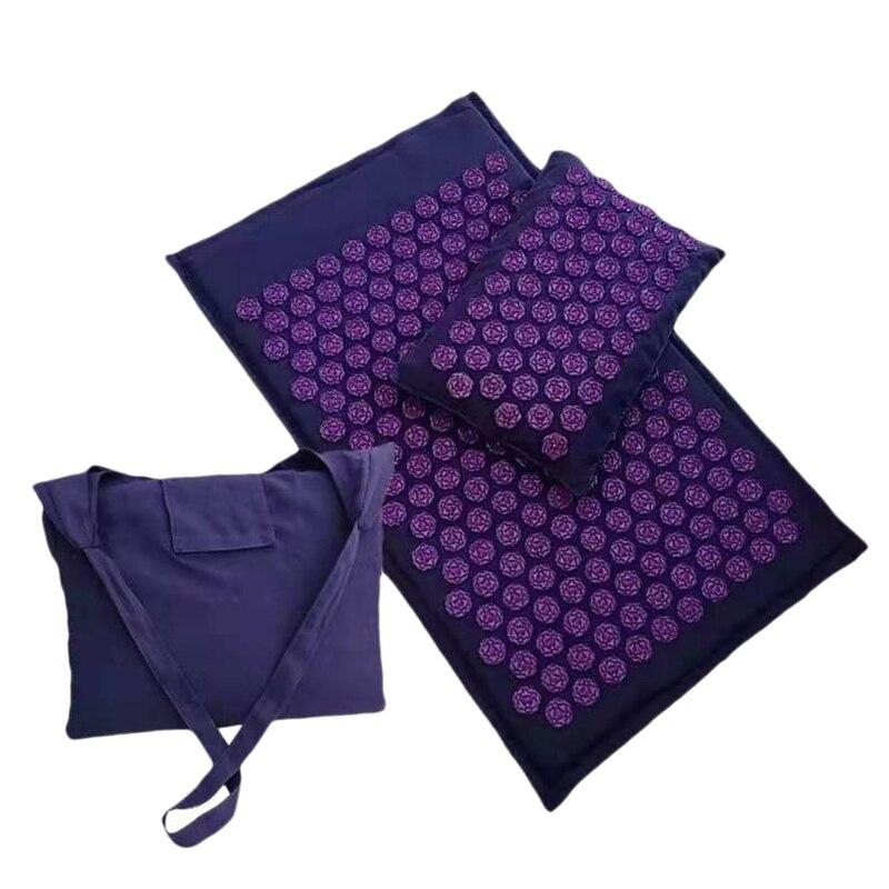 Лотос Спайк акупрессурный коврик массажный коврик и подушка набор для йоги Акупунктура подушка для облегчения боли в спине и шее Массажный коврик для тела (п
