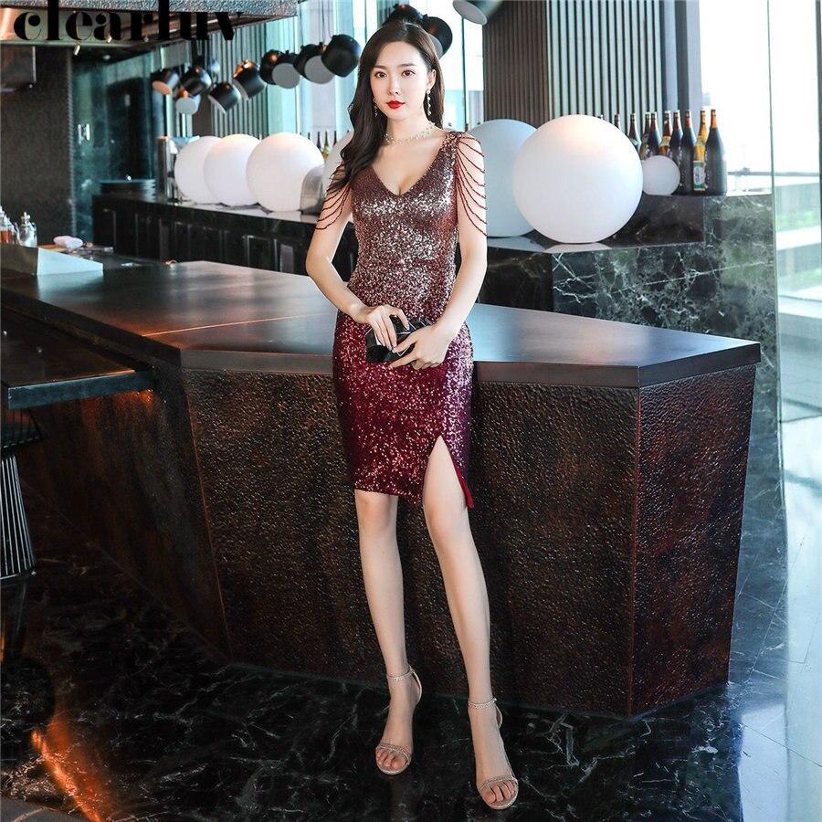 Sexy Deep V-Neck Prom Dress Plus Size Vestidos De Gala DX259-1 2019 Sequins Sleeveless Dresses Women Party Night Short Prom Gown