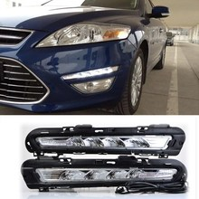 Car Flashing 1Pair For Ford Mondeo Fusion 2011 2012 2013 LED DRL Daytime Running Lights LED Daylight Fog light with yellow possbay car daylight daytime running lights for vw jetta mk6 typ 5g 2011 2013 pre facelift with yellow turn signal function