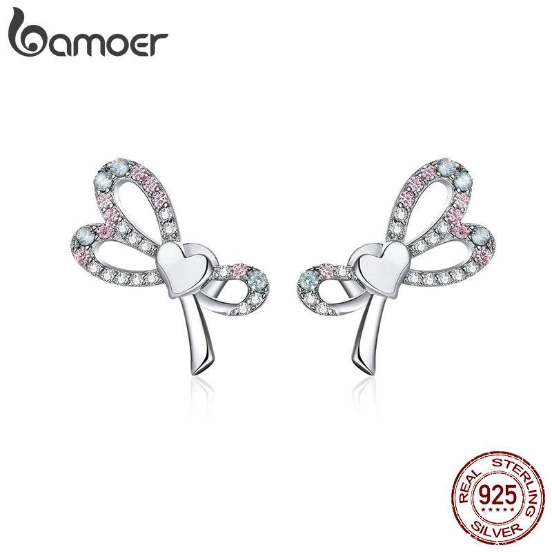 bamoer Real 925 Sterling Silver Heart Belt Bowknot Stud Earrings for Women Ear Pins Fine Jewelry 2020 New Brincos BSE364