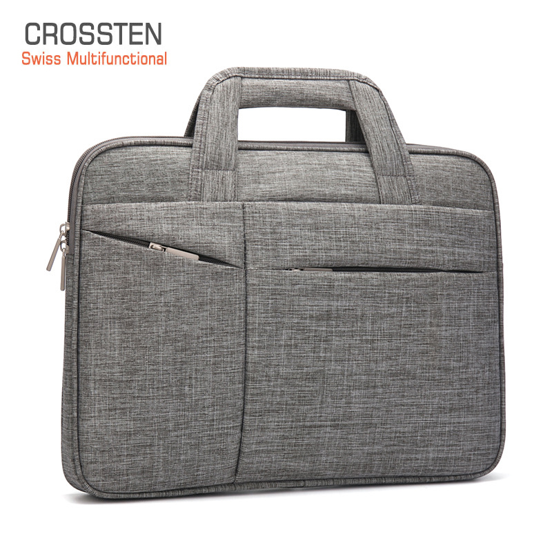 Crossten 15.6 Inch Laptop Briefcase Men Women Waterproof Handbag Large Capacity Portable Thin Super Slender Messenger Bag