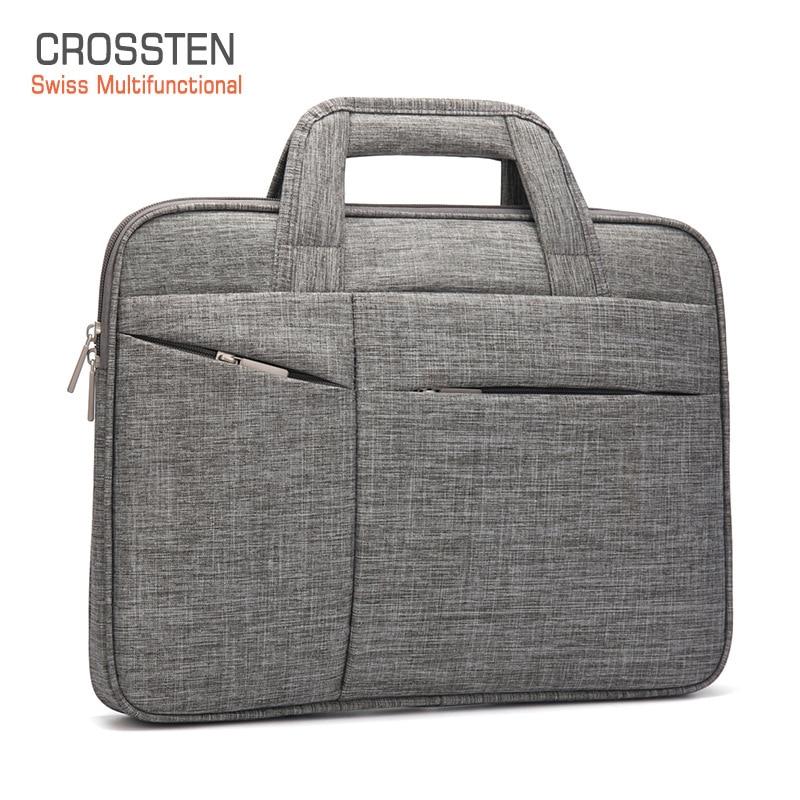 Crossten 15.6 Inch Laptop Briefcase Men Women Waterproof Handbag Large Capacity Portable Thin Super Slender Messenger Bag