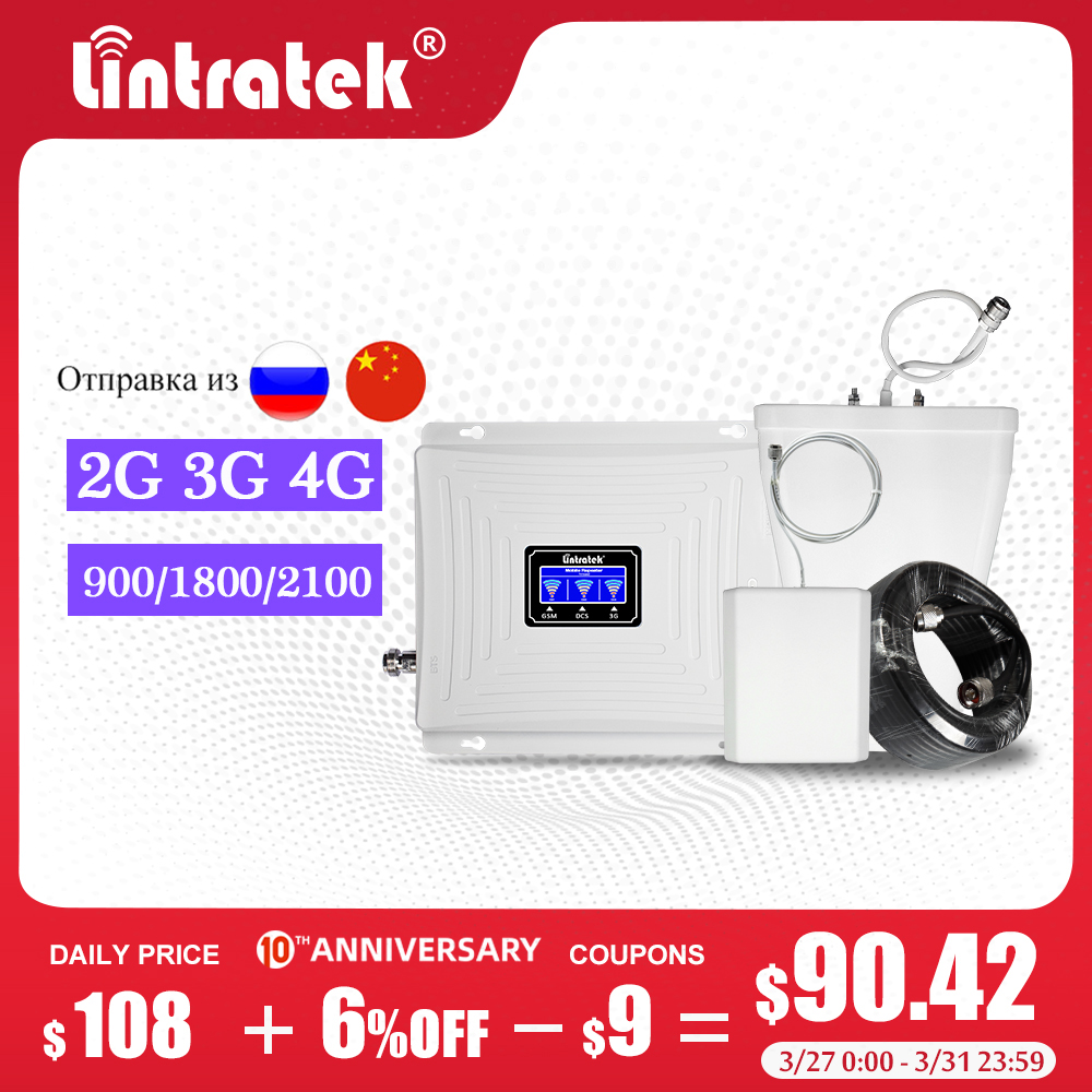 Lintratek 2G 3G 4G 900/1800/2100mhz Tri Band GSM 900mhz LTE Sinal Cellular Signal Booster Amplifier Cellphone Signal Repeater Dj