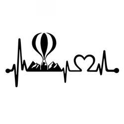 Hot Air Balloon Electrocardiogram Decals High Quality Car Window Decoration Personalized Pvc Decals Black/white, 18cm*9cm