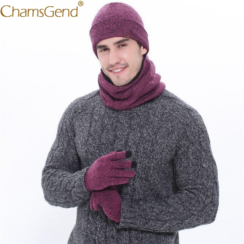 3pcs/Set Hat Scarf Gloves Sets Unisex Winter Warm Thick Beanies Caps+Thick Fleece Knitted O Ring Scarf+Texting Gloves 9911