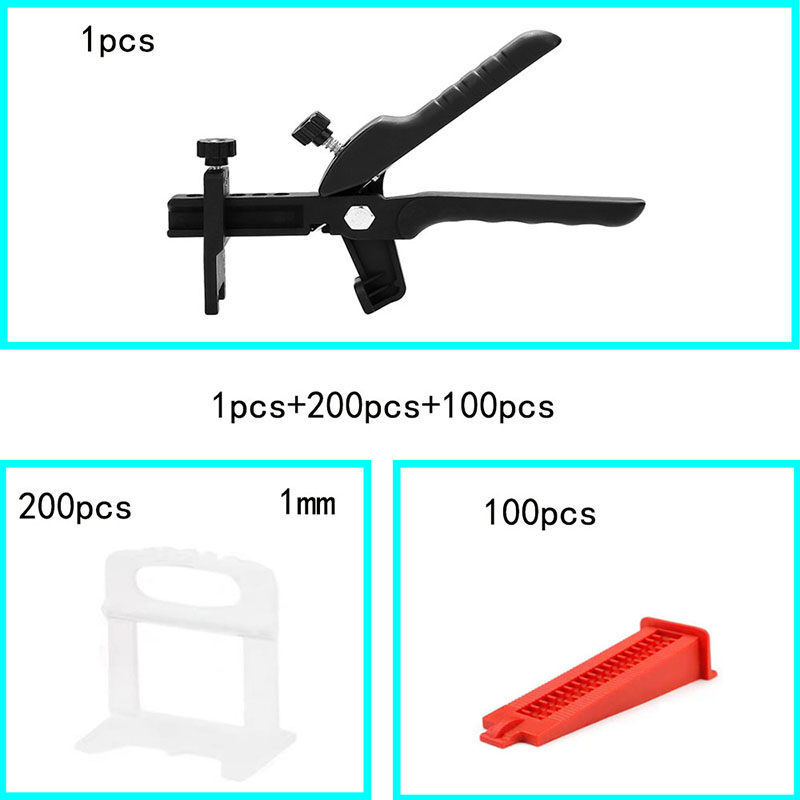 1 Mm Tile Leveling System Tools Floor Wall Flat Leveler Plastic Spacers 200pcs 100pcs Wedges 1pcs Push Pliers Building Kit