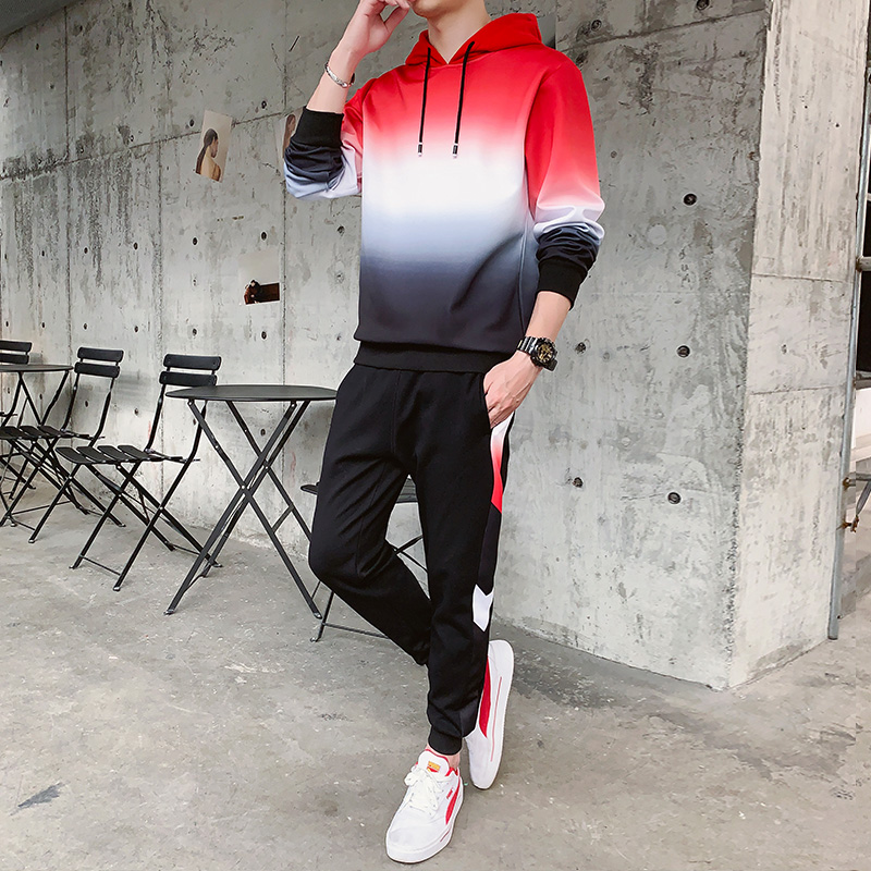 Men's Casual Sports Suit Hooded Fashion Two Piece Men Tracksuit For Gym Cotton Xxl Tuta Sportiva Uomo Hoodie And Pants HH50TZ