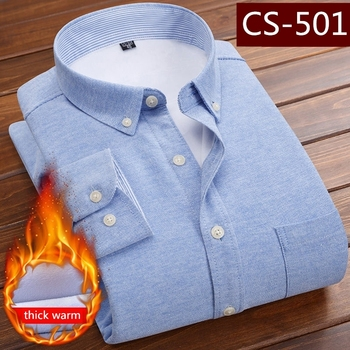 Winter Solid Long Sleeve Warm Fleece Lining Shirts For Men Thick Velvet Dress Shirt Men's Fashion Soft Flannel Shirts Size 5XL