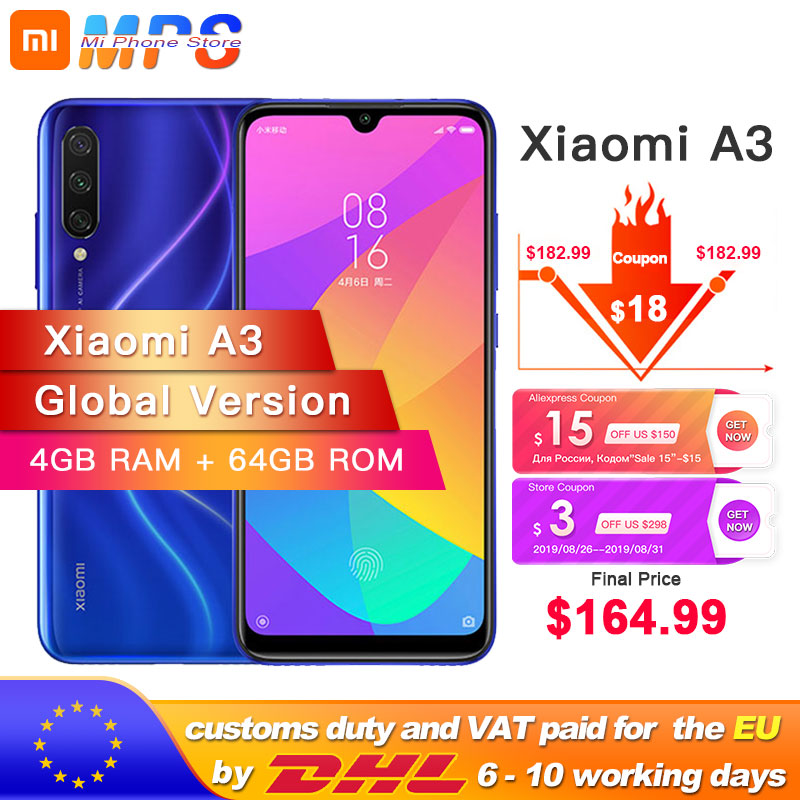 Xiaomi A3 Mia3 64GB Quick Charge 3.0 Octa Core Fingerprint Recognition 48MP New Smartphone
