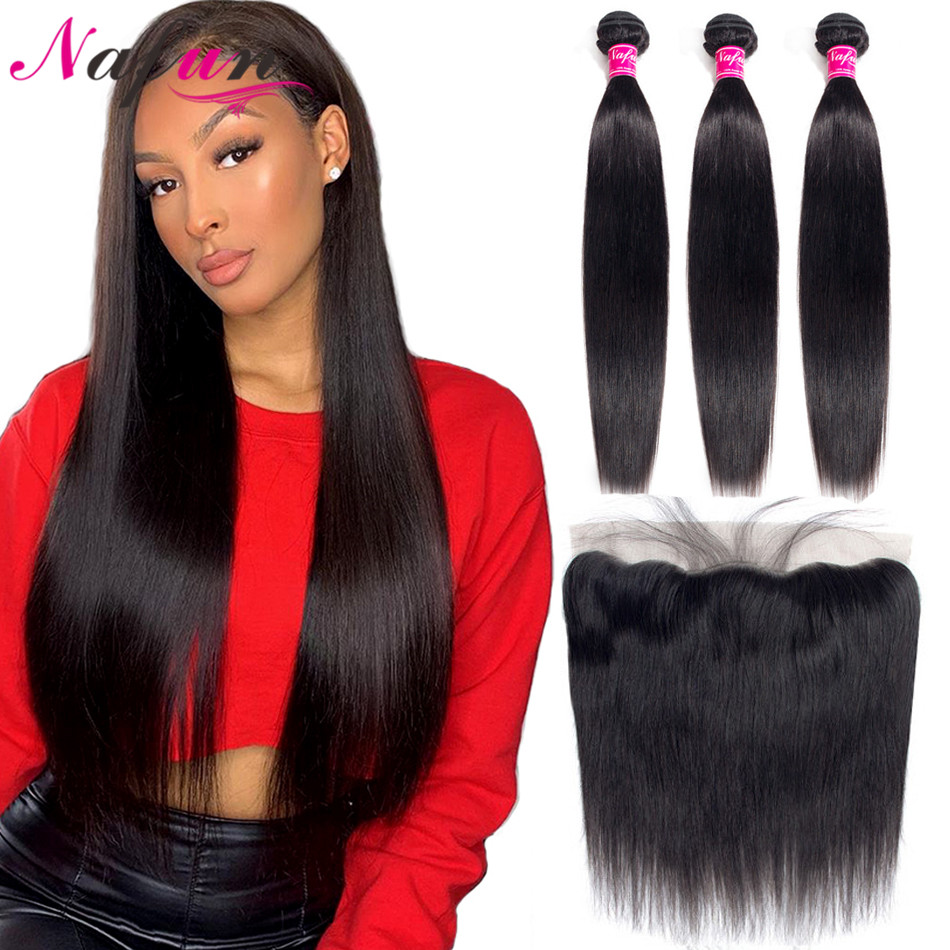 Nafun Brazilian Straight Hair Bundles With Closure Human Hair Bundles With Frontal Non-Remy Lace Frontal Closure Middle Ratio