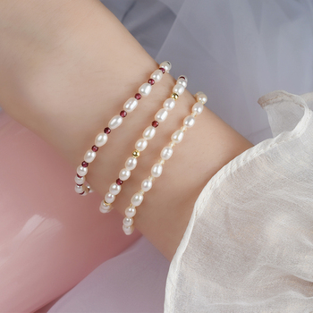 ASHIQI Real Natural Freshwater Pearl bracelet for Women with 925 Sterling Silver Button Natural Crystal Handmade Jewelry Gift