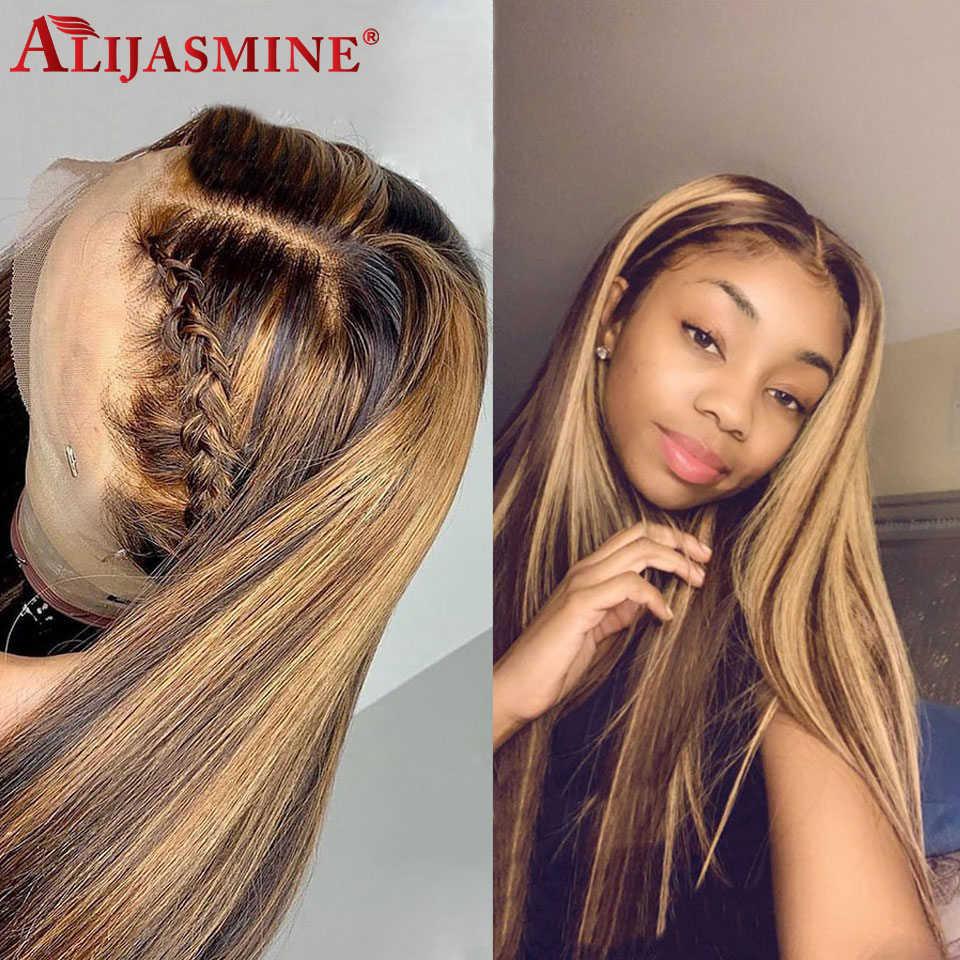 360 koronki przodu peruka wstępnie oskubane z dzieckiem włosy Remy Ombre wyróżnij peruka miód blond 360 ludzkich włosów peruki dla kobiet 150 gęstości